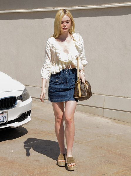 Denim Skirt, Ruffle Blouse, Platform sandals
