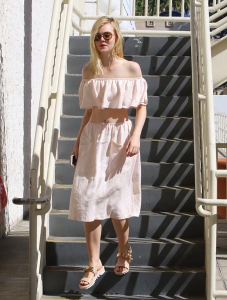 Off-the-Shoulder Top, Knee Length Skirt, Flat sandals