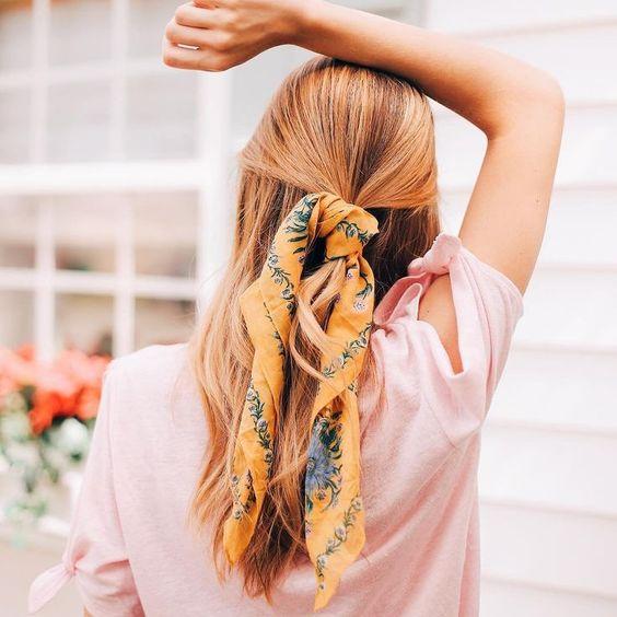 Silk scarf in a half up ponytail