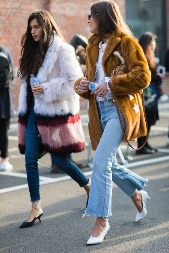 effortless chic in colored mink jacket and denims