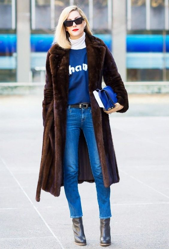 leather ankle booties +leather belt + leather clutch and a vintage mink coat to complete the outfit!