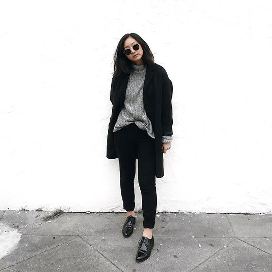 Tiffany Wang - Everlane Oxfords, Everlane Cocoon Coat, H&M Sweater, Zara Pants