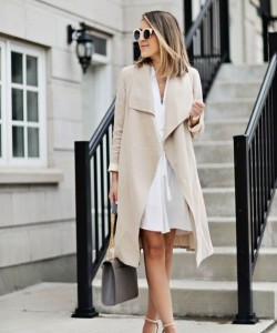 White dress and a trench coat.