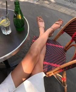 Leia Sfez wearing By Far Low Heel Sandals in Paris