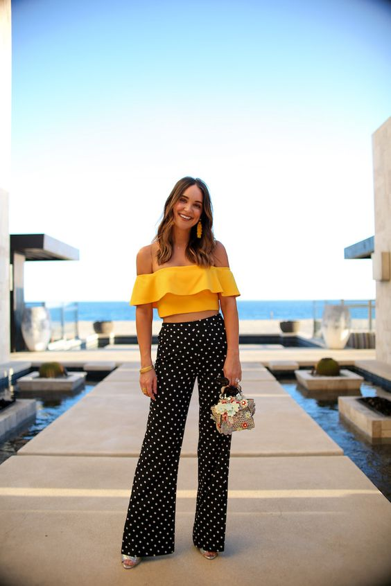 Yellow Off the Shoulder Crop Top