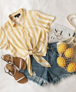 via lemon yellow outfit