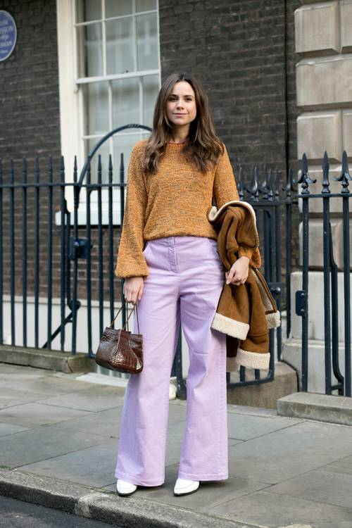 Combine purple with neutral tones to add some fun to a casual look.