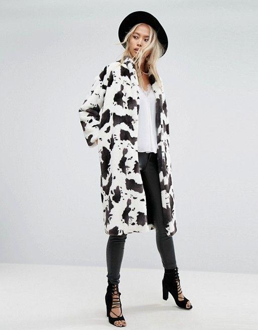 Longline Coat In Cow Print Faux Fur at ASOS