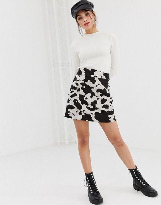 Stradivarius a line skirt in cow print