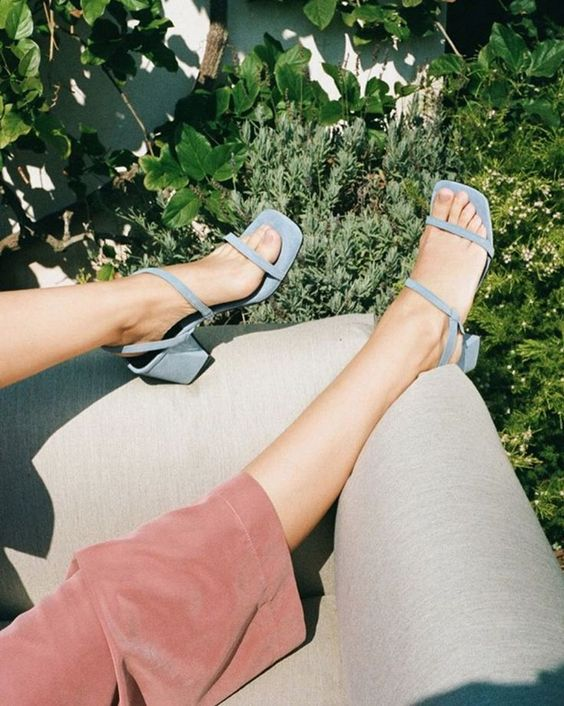 Blue suede square toe sandals