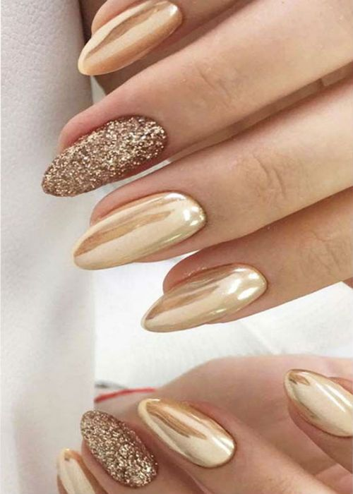 Golden Glitter Wedding Nail Art Designs