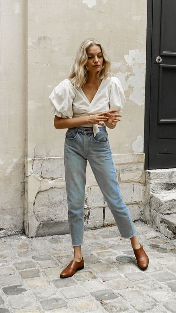 white blouse with dramatic full short sleeves