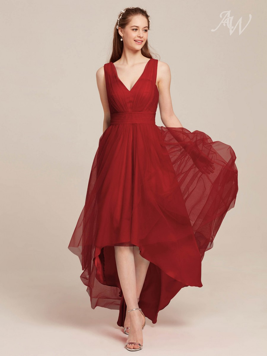 Clarice V-Neck High-Low Tulle Bridesmaid Dresses
