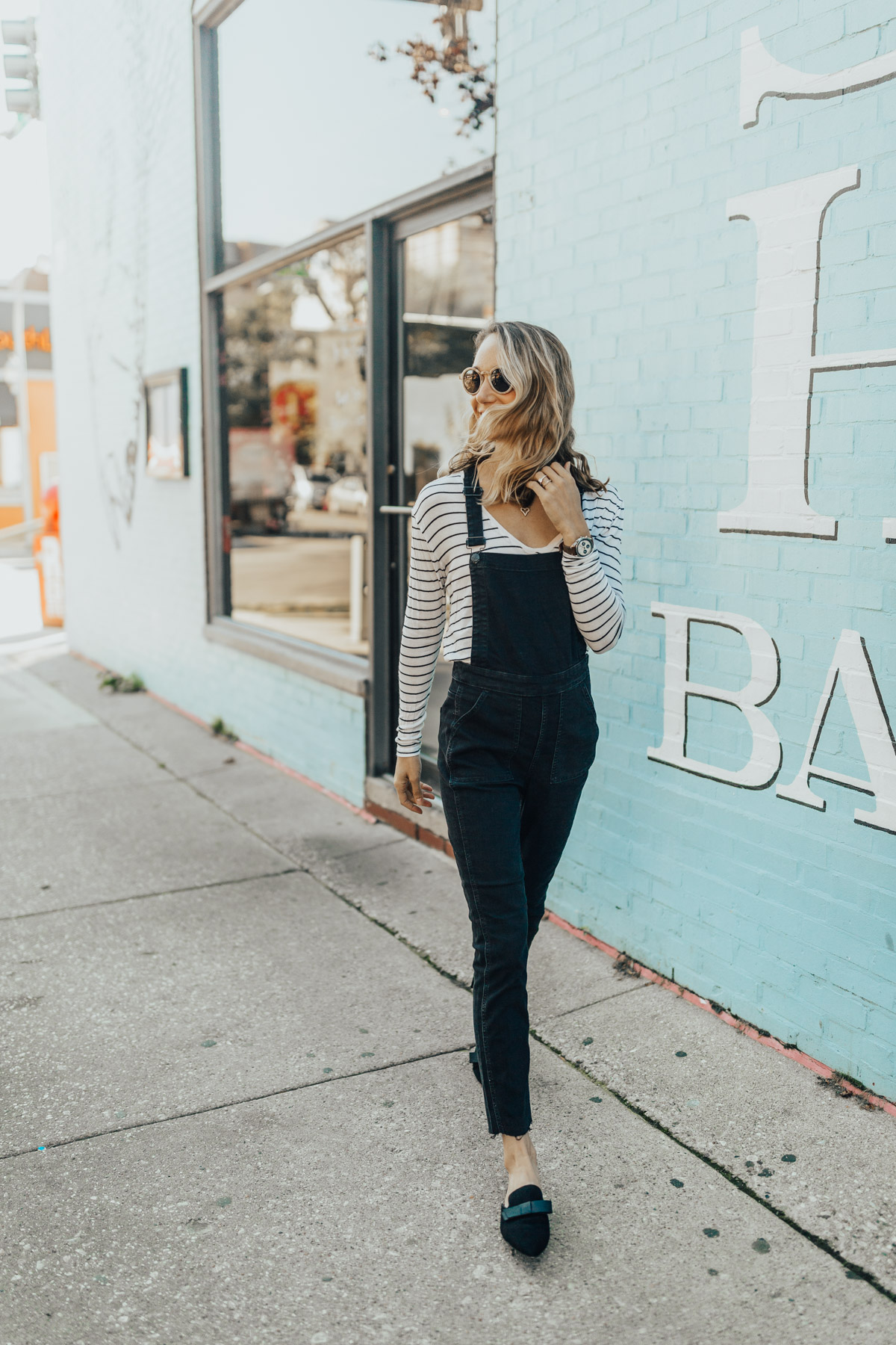 Overalls with Stripe Tee & Flats