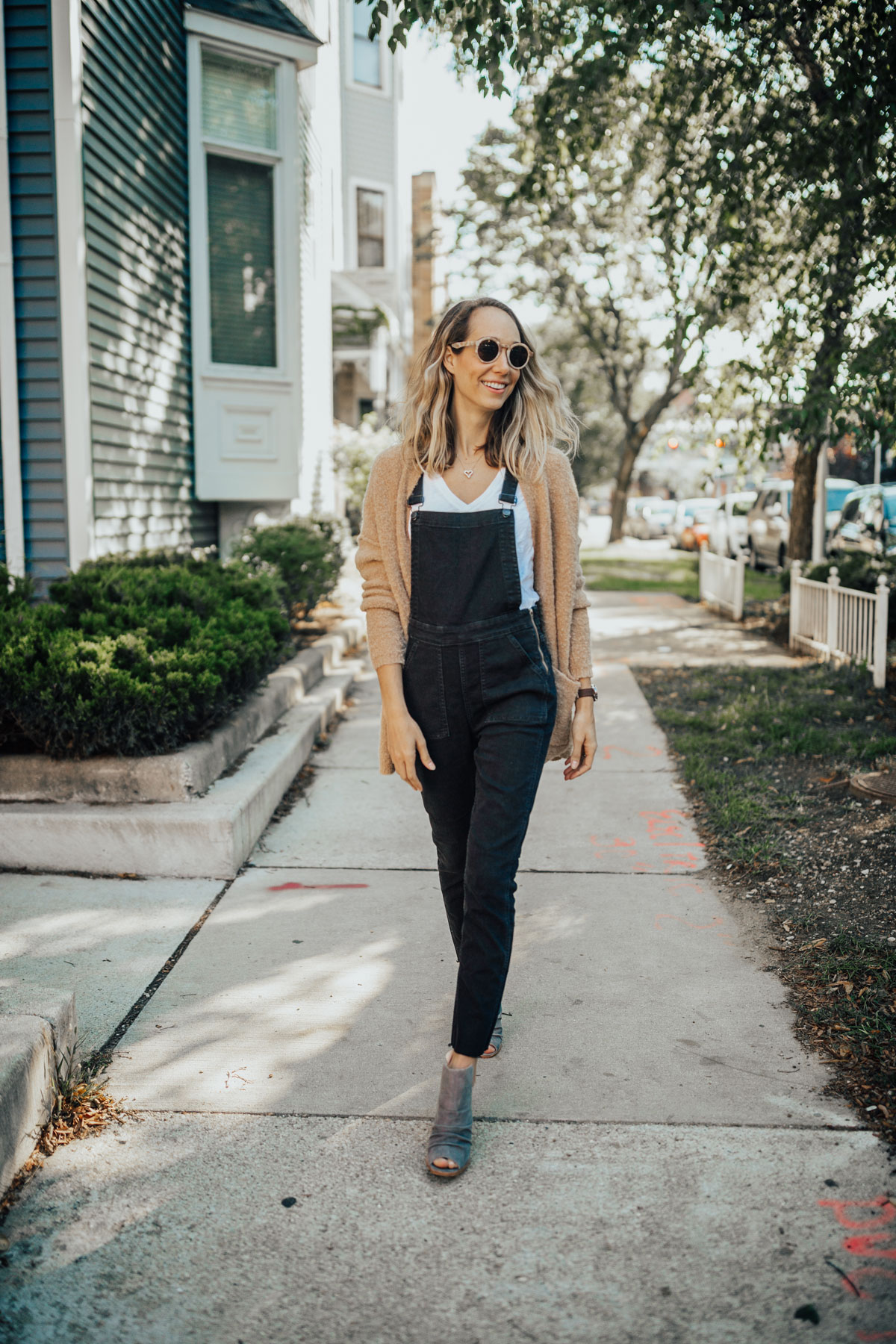 Overalls with a Tee and Cardigan