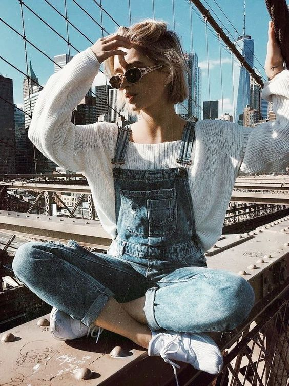 Sweater Overalls Outfit
