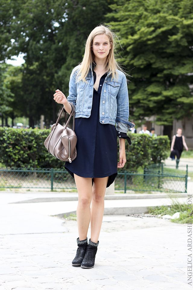 Casual Style With Black Dress Paired Denim Jacket