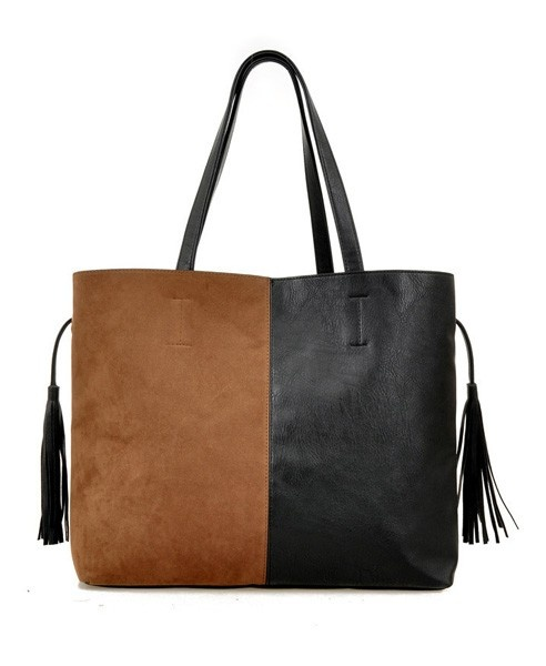 Color Block Design PU and Suede Bag with Tassels