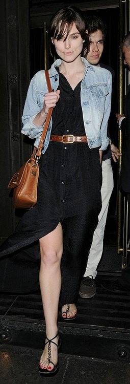 Keira Knightley Wore Black Long Dress With Denim Jacket