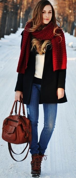 Red Knit Scarf For Winter fashion