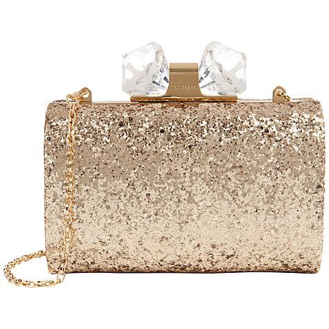Ted Baker Karsie Glitter Hardcase Clutch Bag , Gold