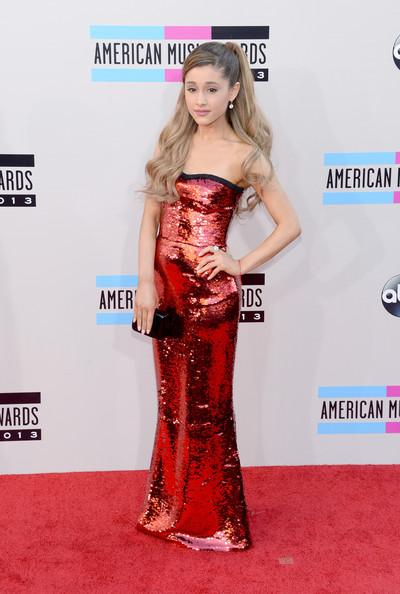 Ariana Grande Strapless Red Dress
