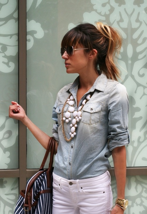 Denim Shirt with statement necklace