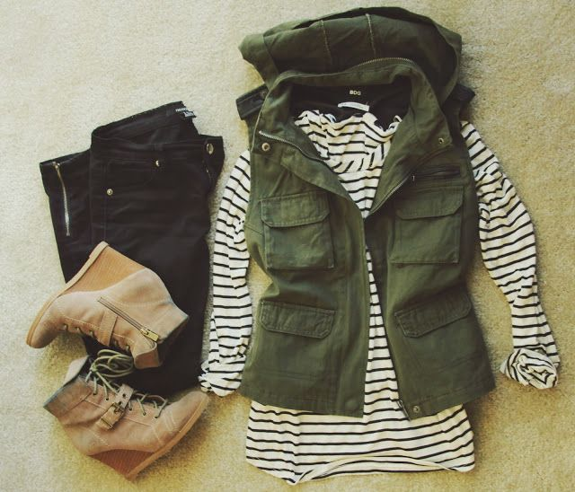 Fall Outfit With Green Army Vest