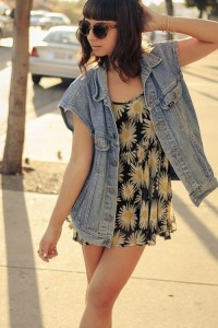Floral Spring Dresses With Denim Vest