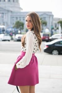 Fuchsia Flared Skirt