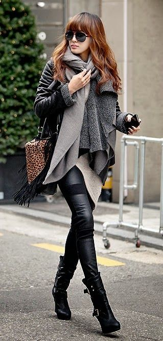 Grey Scarves With Black Tights