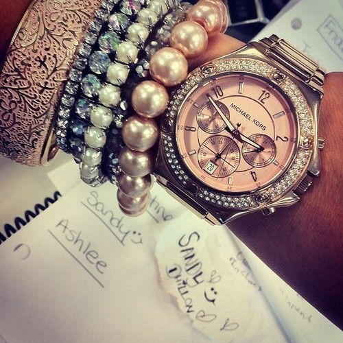 Layering Bracelet With Michael Kors Watch