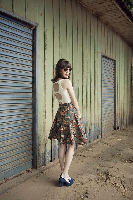 Lovely Flower Flared Skirt