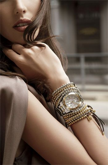 Michael Kors Watch And Layered Bracelets
