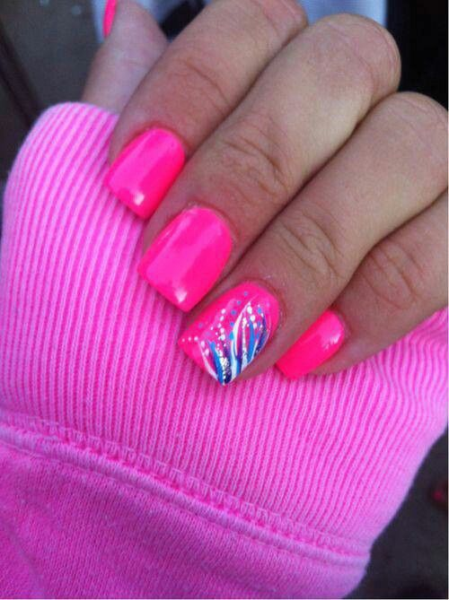 Pink Neon Nails Art