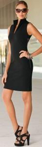 Split Neck Black Dress