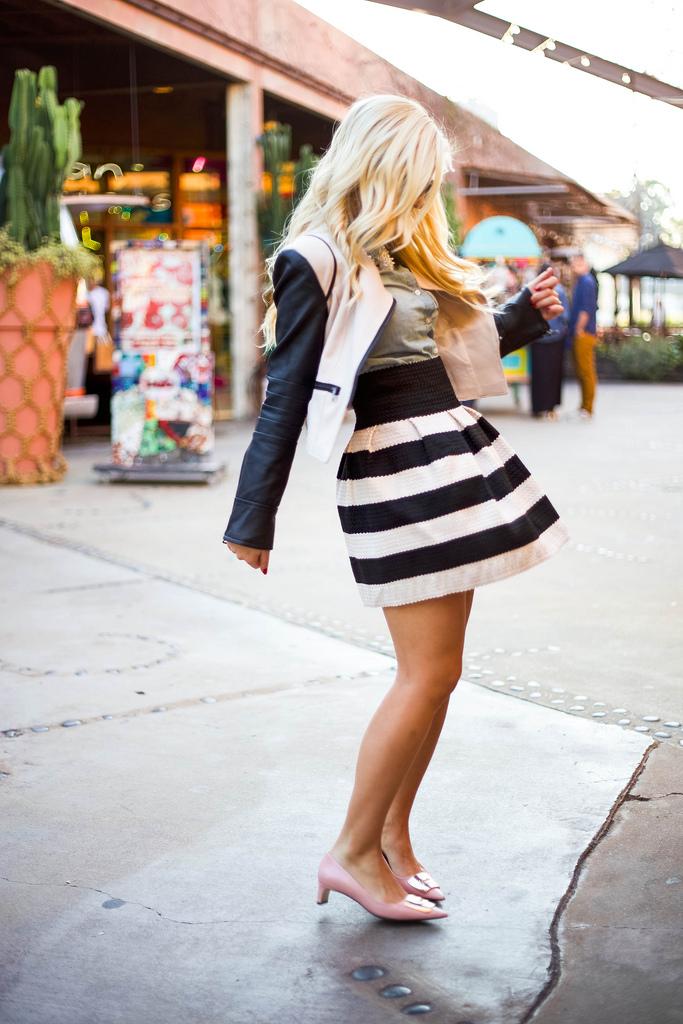 Strip Flared Skirt