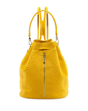 Cynnie Python-Embossed Drawstring Backpack, Lemon Zest