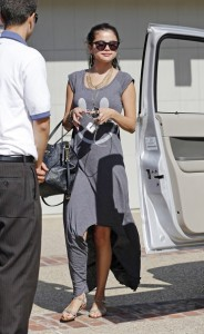 Selena Gomez Street Style With Smiley Face dress & Flat sandals