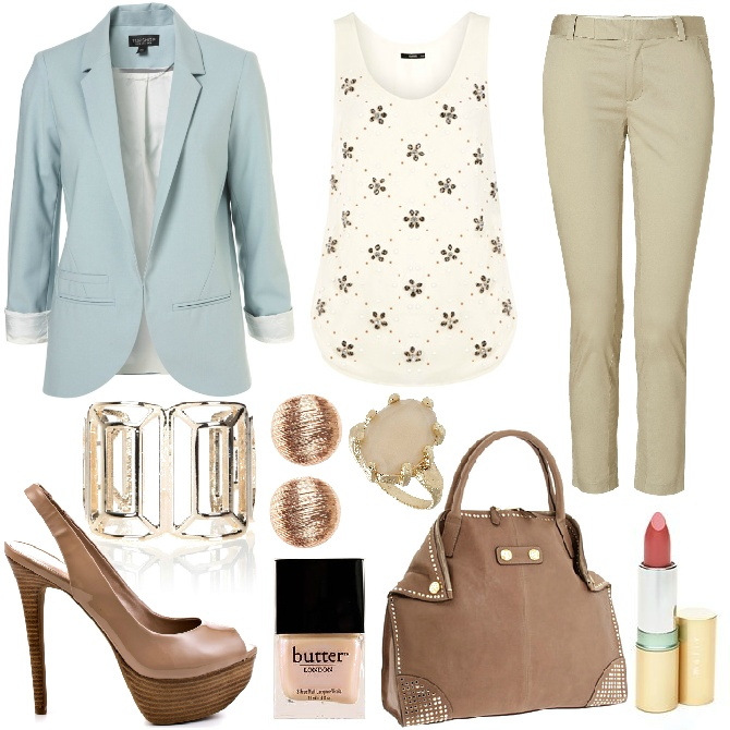 Tank top and blazer for office outfit