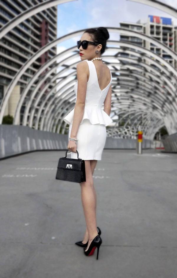 White Peplum Dress Outfit
