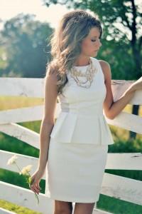 White Peplum dress + statement necklace