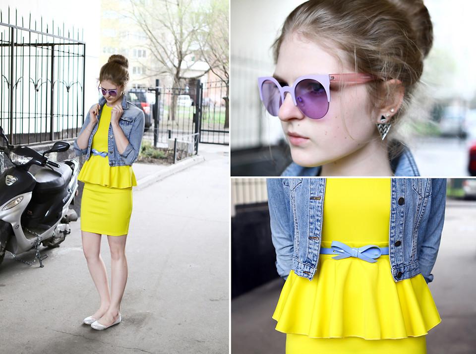 yellow neon Dress with peplum