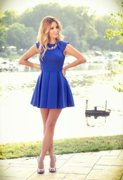 Cute Party Outfits With Blue Dress