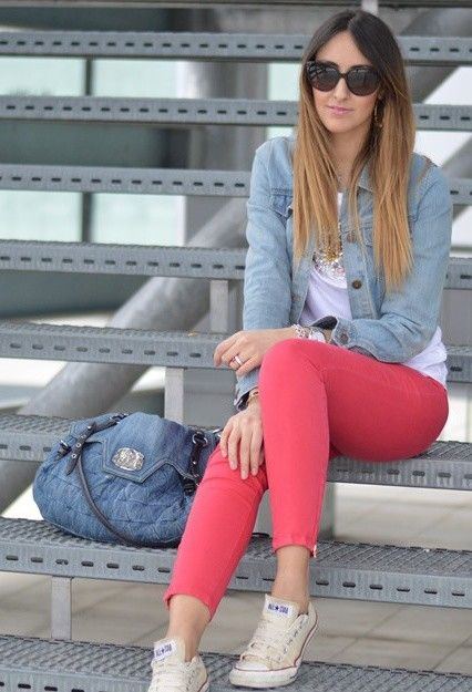 Denim and red pants