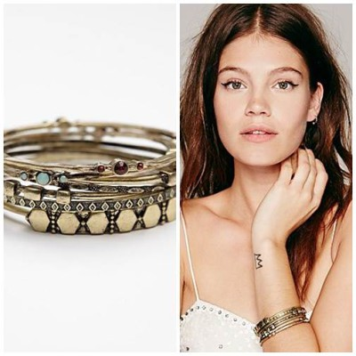 Electric Stone Hard Bangle SetStyle Guide: Boho Vintage Bangles By FreePeople
