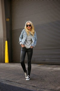 casual fashion style with converse and denim