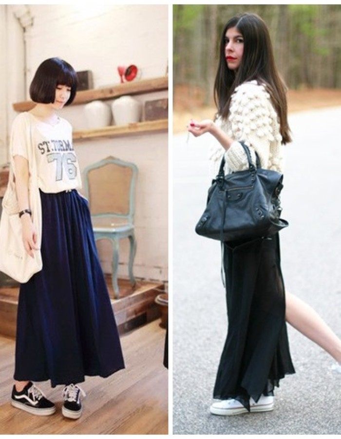 How To Style Maxi Skirt With Sneakers