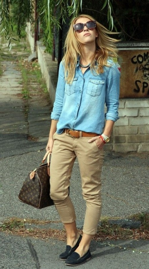 Denim shirt with khaki pants