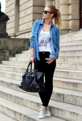 casual outfit with denim shirt